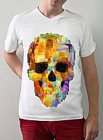 """Мужская футболка """"Цветной череп"""""""