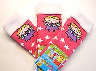 Махровые цветные носки новогодние кораллового цвета