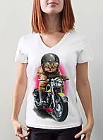 """Женская футболка """"Кот байкер"""""""
