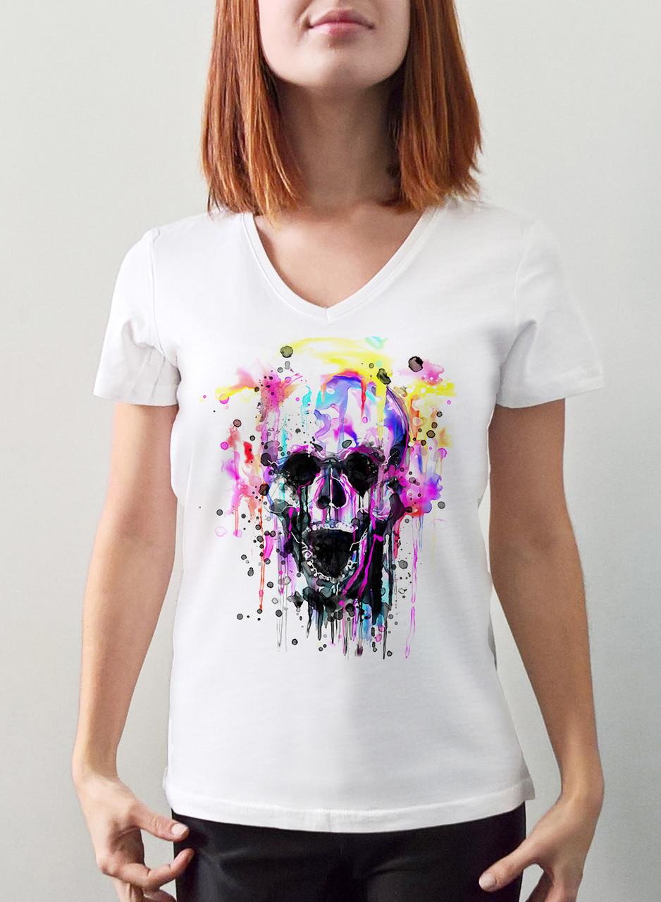 """Женская футболка """"Красочный череп"""""""