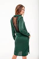 Платье атласное изумрудное , фото 1