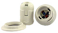 Патрон LEMANSO Е27 пластиковый  резьба+кольцо  белый  LM105