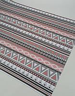 Подарочная бумага (упаковочная) серо-розового цвета с геометрическими орнаментами