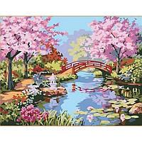 Картина по номерам на холсте Пейзаж. Сад цветущей сакуры 40*50см, КН190
