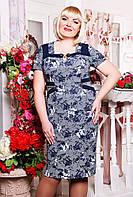Платье женское батального размера Цветочный акцент синий+белый 50, 52, 54 размеры