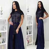 Платье женское двойка Ткань : дорогой гипюр , подкладка -микро дайвинг , юбка из атласа  роле№3043