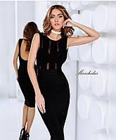 Платье женское Ткань : дайвинг высокого качества ( Корея ), вставки мягкая, стейчевая сетка роле№3041