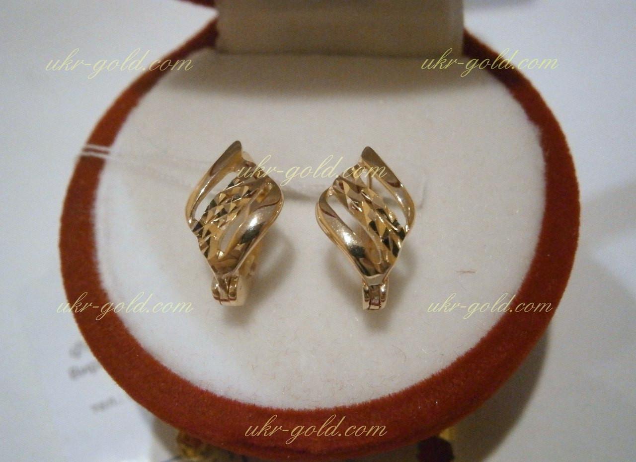 Золотые серьги алмазка