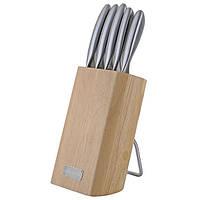 Набор ножей 6 предметов из нержавеющей стали с полыми ручками и деревянной  подставкой Kamille