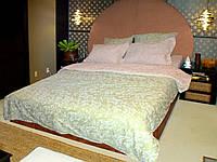 """Комплект 2-спальный с Евро-простынёй Коллекции """"Белым по фисташковому и кремовому"""". Тернопольский Ранфорс. Хлопок 100%."""