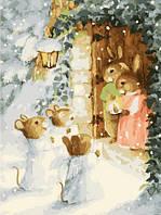 Картина раскраска по номерам без коробки Идейка Рождественские калядки худ Кинкейд, Томас (KHO302) 40 х 50 см
