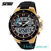 Мужские спортивные часы  Skmei Sport Dive (1016) черные с золотом