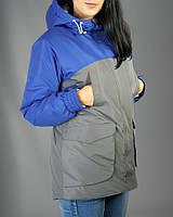 Модная зимняя куртка,парка женская Olymp - Grey and Blue