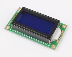 Двухстрочный символьный индикатор LCD0802 3-5V с подсветкой (синий)