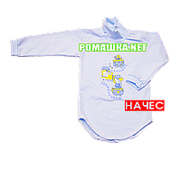Детский боди-гольф р. 80-86 с начесом ткань ФУТЕР (байка) 100% хлопок ТМ Алекс 3189 Голубой2