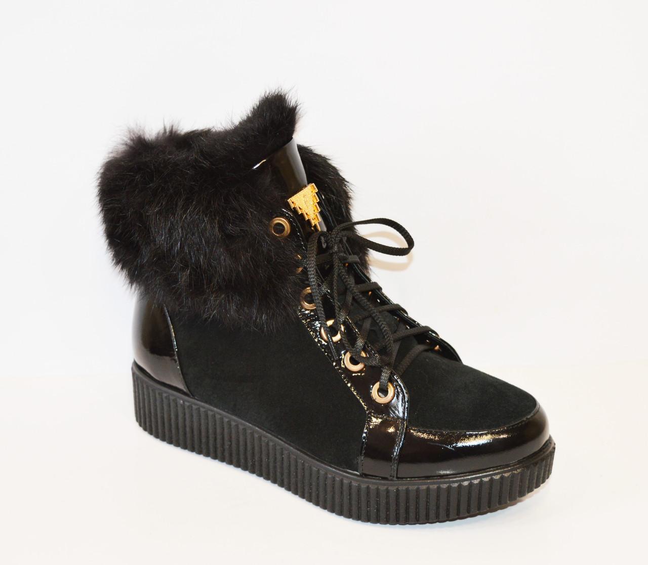 Черные ботинки с мехом El Passo 1592