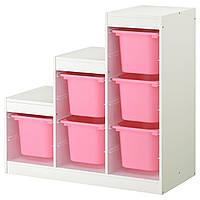TROFAST Комбинация д/хранения, белый, розовый