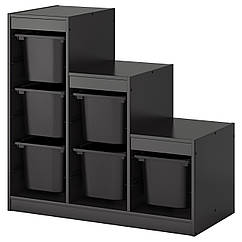 TROFAST Стеллаж с корзинами, черный 990.063.81