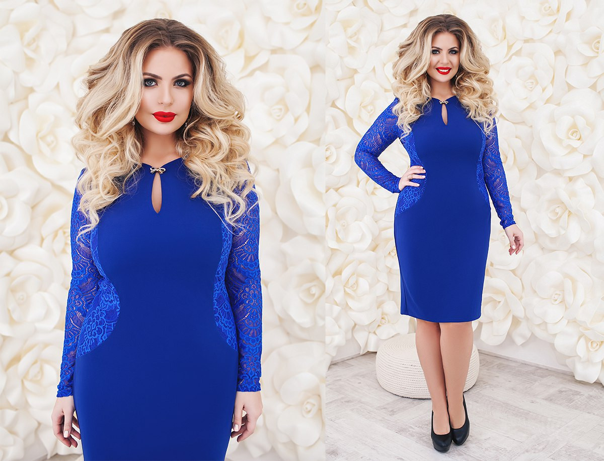 fdc2804b403d917 Нарядное и очень красивое женское платье креп-дайвинг с гипюром больших  размеров -
