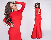 Шикарное вечернее женское платье макси с открытой спиной красное