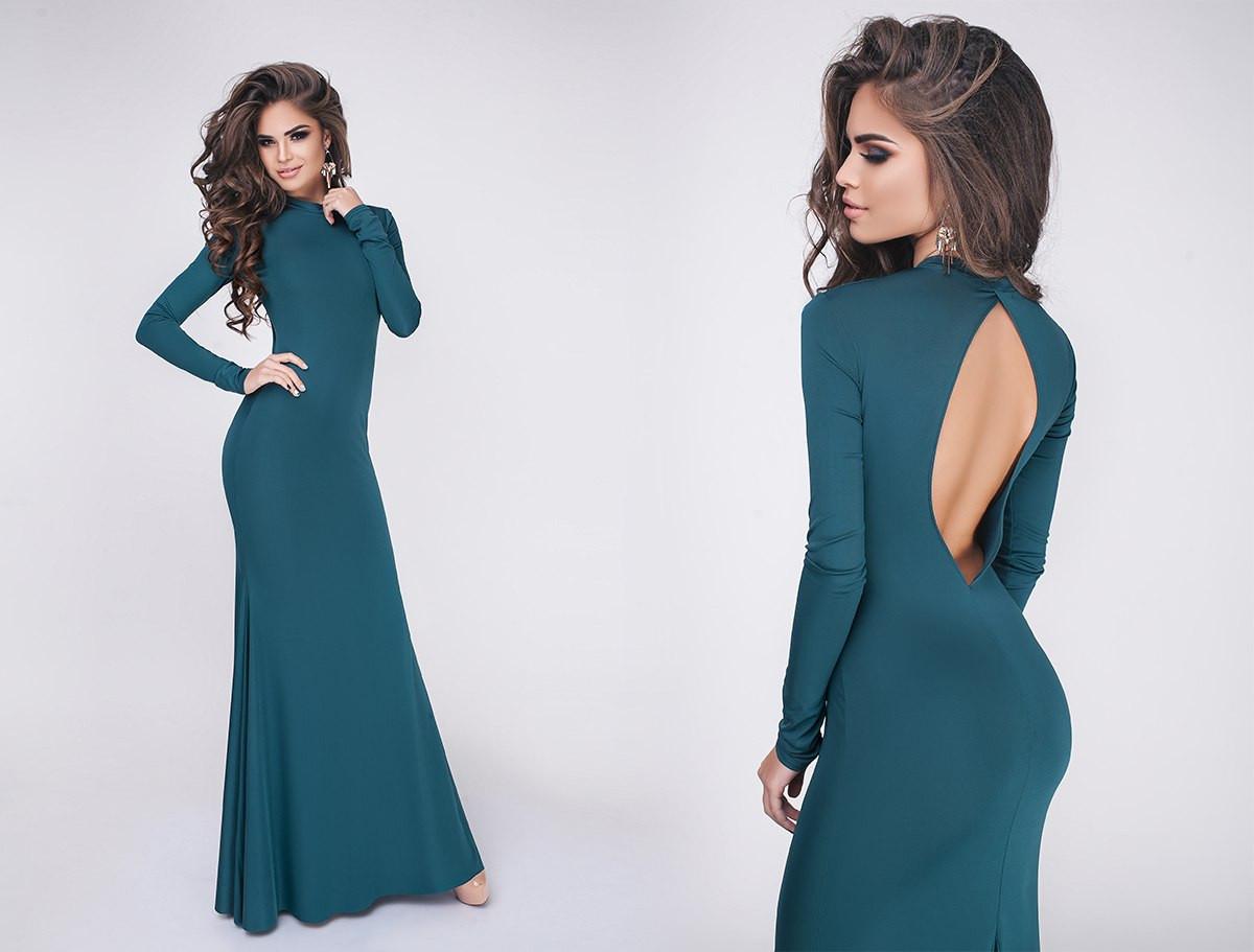 9ba10a33958 Шикарное вечернее женское платье макси с открытой спиной изумрудное -  Стильная женская одежда оптом