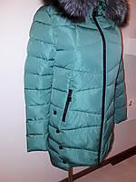Пуховик женский зимний мятного цвета 16-78, фото 1