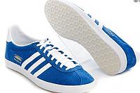 Кроссовки мужские сине - белые Adidas Gazelle Indoor 2016 - 17Z