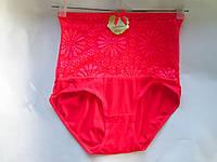 Трусы женские опт, с утяжкой, красные с кружевным поясом
