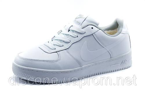 Зимние мужские Найк Air Max кроссовки, на меху, белые