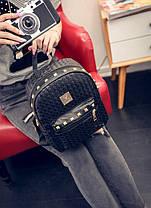 Жіночий рюкзак міський із заклепками і плетінням, фото 2