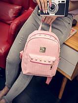 Жіночий рюкзак міський із заклепками і плетінням, фото 3