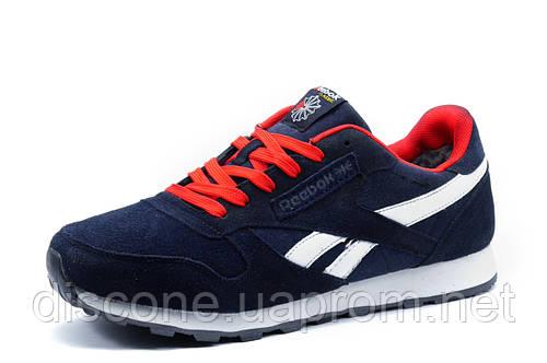 Зимние кроссовки Reebok Classic мужские, на меху, темно-синие