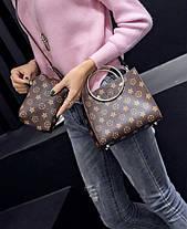 Стильная сумочка с мини-клатчем в ромбики, фото 3