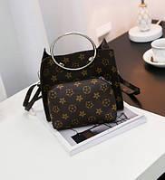 Стильная сумочка с мини-клатчем в ромбики