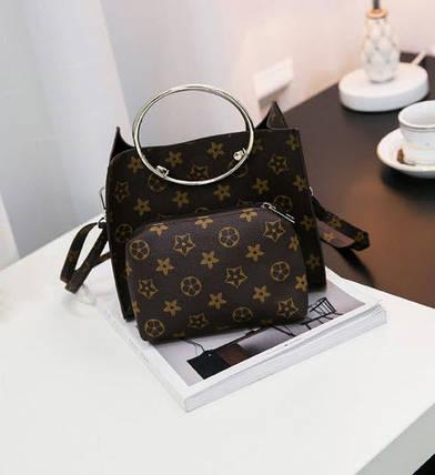 Стильная сумочка с мини-клатчем в ромбики, фото 2