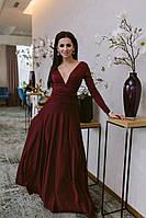 Шикарное однотонное платье в пол с длинным рукавом и откровенным декольте бордовое