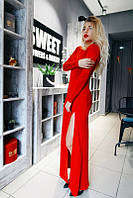 Однотонное платье в пол с длинным рукавом с разрезом на ноге красное