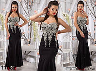 Шикарное вечернее платье в пол корсет без бретелей с кружевным шитьем черное