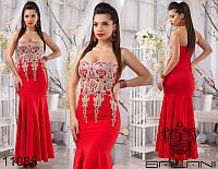 Шикарное вечернее платье в пол корсет без бретелей с кружевным шитьем красное