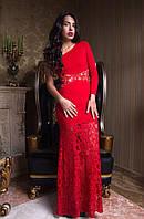 Красивое вечернее платье в пол с гиюром и одним длинным рукавом красное