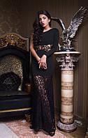 Красивое вечернее платье в пол с гиюром и одним длинным рукавом черное