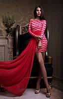 Гипюровое женское мнии платье с шифоной юбкой в пол красное