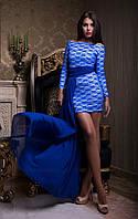Гипюровое женское мнии платье с шифоной юбкой в пол электрик