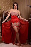 Очаровательное женское вечернее мини платье с кружевом и шифоновой юбкой в пол красное