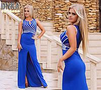 Элегантное платье в пол с разрезом с серебряным переплетом синее