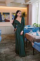 Шикарное однотонное платье в пол с длинным рукавом и откровенным декольте темно-зеленое