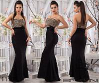 Шикарное вечернее платье в пол верх лео юбка черная гипюровая рыбка