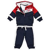 """Спортивный костюм из 3-х ед костюм спортивный с начесом на малыша, с капюшоном, белые вставки, карман """"кенгуру"""