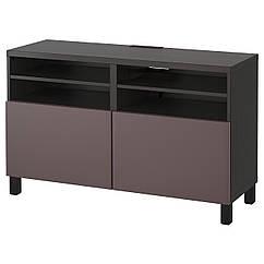 BESTÅ Журнальный столик ТВ, с дверцами, czarnybrąz, Valviken темно-коричневый 891.362.03