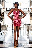 Короткое женское бархатное пурпурное платье Ролли-1   Jadone  42-48 размеры